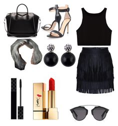 """Black Outfit "" by emojianesa on Polyvore featuring Gianvito Rossi, Givenchy, Christian Dior, Gucci and Yves Saint Laurent"