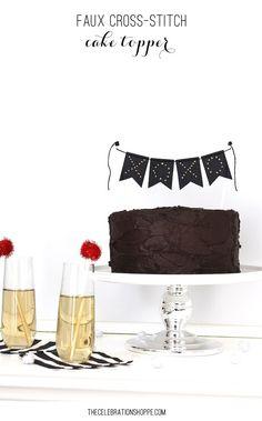 Faux Cross-Stitch Cake Topper | @kimbyers
