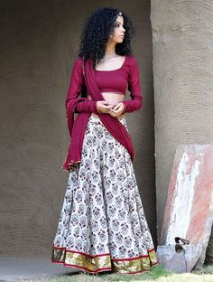 Maroon-Beige Natural Dyed Hand Block Printed Gota Embellished Cotton Lehenga-Choli & Dupatta Set of 3 Indian Skirt, Indian Dresses, Indian Outfits, Indian Clothes, Desi Clothes, Garba Chaniya Choli, Lehenga Choli, Garba Dress, Lehenga Blouse