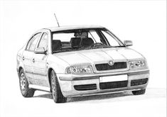 Skoda Octavia One of the last indestructible cars, especially with famous TDI engine. Beloved by Polish traders. DRAWINGS FOR ORDER - DM/email for details Car Drawings, Mk1, Automotive Design, Drawing Art, Compact, Engine, Workshop, Polish, Cars