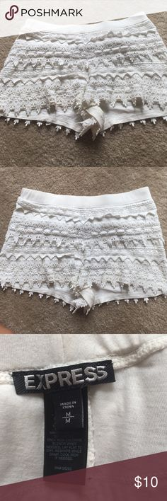 Cream Express Lace Shorts Cream/white lace shorts by express. Only worn once and in excellent condition. Express Shorts