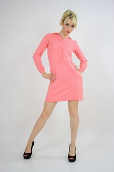 Vintage 60s Mod Dolly Pastel Pink Polkadot Mini Dress