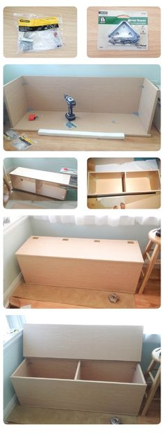 I want to make a bench with cushions for the edge of the bed. Storage bench / TOY BOX DIY - could use Kreg Jig instead of brackets and hide all the hardware... need for the kids room - LOVE the double storage!