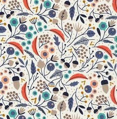 Organic Fabric - WildWood by Elizabeth Olwen - Forest Floor Ivory- for Fabric, Organic Quilt Fabric, Floral Fabric Textile Patterns, Textile Design, Color Patterns, Fabric Design, Print Patterns, Fun Patterns, Motif Floral, Floral Fabric, Stoff Design