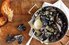 Mussels are cheap, delicious and relatively fun to eat: saline, mild and plump little bites They are also extremely easy to cook, especially if they've been farmed (most mussels you find in markets have been) Just give them a good rinse, and they are ready to go