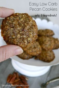 These low carb pecan cookies require only three ingredients and can be made super quickly! Gluten free, sugar free, keto, and dairy free recipe.