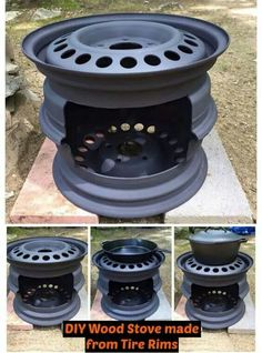 diy projects Check out this DIY Wood Stove made from tire rims! How cool is that to make something from recycled projects. Be sure to read all the tips we included.