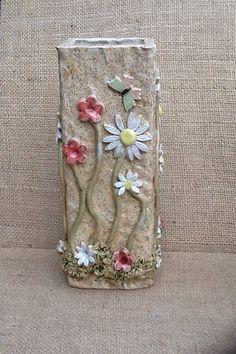 Ceramic+vase+tall+pottery+vase+flower+vase+spring+by+Sallyamoss,+£30.00