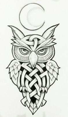 2619d4cf9 I love owls in tattoo form Celtic Owl and Moon by Tattoo-Design, deviantart