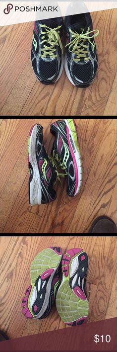 Saucony Glide 7 running shoes 10.5 Saucony glide 7 running shoes in 10.5. They've gotten good use but they are still in good condition with no holes or stains. Great running shoes! Saucony Shoes Athletic Shoes