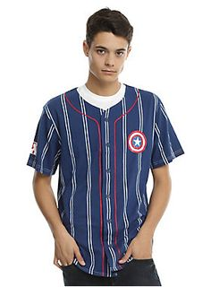 """There's nothing more American than <i>Captain America</i> and baseball. Combine the two and you'll be practically oozing patriotism from your pores. This blue baseball jersey from Marvel features the <i>Captain America</i> shield logo on the left chest, button front closure and """"Rogers"""" with the number 41 on back. Play ball!<br><ul><li style=""""list-style-position: inside !important; list-style-type: disc !important"""">60% cotton; 40% polyester</li><li style=""""list-style-position: inside…"""