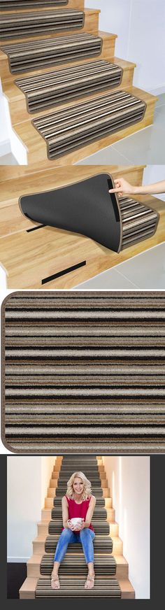 Stair Treads 175517 Set Of 12 Overstep Attachable Carpet 17 X30 Mocha Brown Stripe It Now Only 259 On Ebay