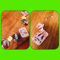 Resin jewelry I made. I can use any picture, people, movies, places etc. this is my wizard of oz bracelet and keychain.