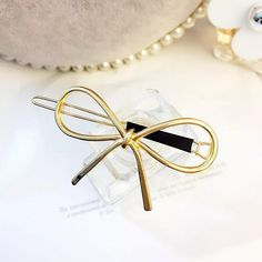 [Product size]: The bow is about long and the clip is about long. Gold Hair Bow, Hair Bows, Hair Accessories Uk, Banana Hair Clips, Hair Grips, Wedding Hair Pins, Pearl Hair, Floral Hair, Hair Barrettes