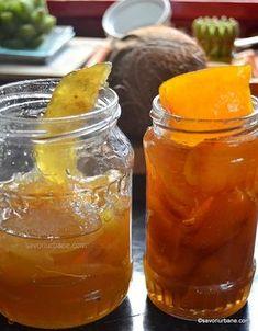 Coji de portocala si lamaie confiate - reteta de dulceata de coji de citrice   Savori Urbane Salsa, Deserts, Jar, Sweets, Urban, Drinks, Food, Cakes, Chow Chow