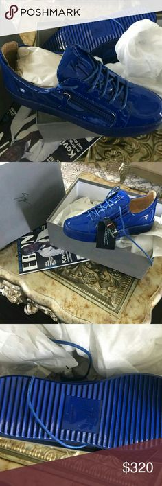 Gisuseppe Zanotti Low Blue 100% Authentic Brand new deadstock limited all dustbags and Tags included New Shoe Text 404-602-2558 for offers or sizing Giuseppe Zanotti Shoes Sneakers
