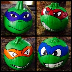Pumpkins decorated as the Teenage Mutant Ninja Turtles. I painted these pumpkins…