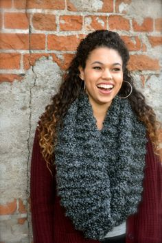 Hand Knit Chunky Charcoal Grey Infinity Scarf by thebestofthemess, $30.00