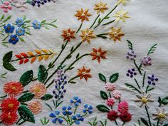 """Vintage Hand Embroidered 45"""" x 49"""" MINIATURE FLORAL BORDERS Linen Tablecloth"""