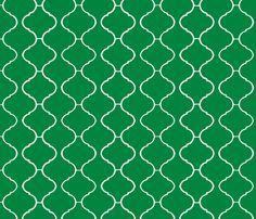 Moorish Tile Trellis Emerald and White fabric by katie_schlomann on Spoonflower - custom fabric