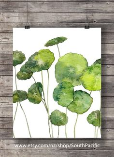 Pilea peperomioides leaves | Printable art | 8x10 Watercolor green plant foliage | greenery tropical leaf botanical illustration