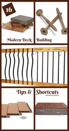 16 modern deck building tips and shortcuts - there are lots of new decking products on the market, and deck building methods continue to evolve and improve. here are some of the best tips and products for a great looking deck that will last decades.