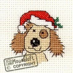 Stitchlets Christmas Card Cross Stitch Kit - Christmassy Dog - Giggle Squiggle