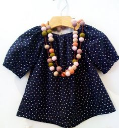 classic shirt with felt ball necklace