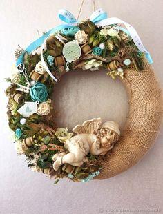 Купить Весенний венок - весна, бежевый, интерьерная композиция, венок, венок на дверь Burlap Wreath, Diy And Crafts, Centerpieces, Wreaths, Handmade, Home Decor, Ideas, Summer, Christmas