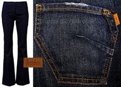 *NWT* James Classic Trouser Jeans Dark Vintage Clean Front Back Patch Pocket 27  #JamesJeans #WideLeg