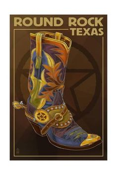 Texas - Boot and Star (Art Prints, Wood & Metal Signs, Canvas, Tote Bag, Towel) Georgetown Texas, Star Boots, Tacker, Free Canvas, Stock Art, Antique Maps, Artist Canvas, Canvas Art, Metal Signs
