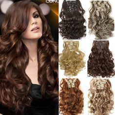 7pcs/set Clip In Hair Extension Curly Synthetic  Wavy Hair Extensions  https://www.stylishntrendier.com/