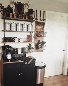 In my expert coffee drinking opinion every mama needs a coffee station 👌💁♀️ DIY coffee station on a low budget! Baskets On Wall, Hanging Baskets, Copper Basket, Produce Baskets, Vegetable Basket, Antlers, Rustic Farmhouse, Rustic Decor, Tiny House