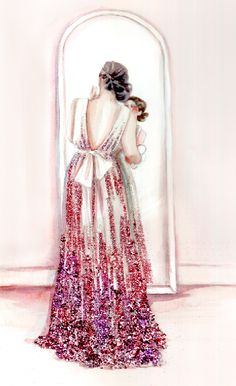 drawing Illustration art Glitter dress gown getting ready paper fashion Katie Rodgers Paper Fashion, Fashion Art, Fashion Models, Fashion Design, White Fashion, Fashion Trends, Glitter Mode, Glitter Fashion, Illustration Sketches