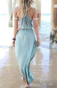 Vacation Dresses, Beach Dresses, Blue Dresses, Summer Dresses, Dress Beach, Maxi Dresses, Honeymoon Dress, Dresses 2014, Side Slit Maxi Dress