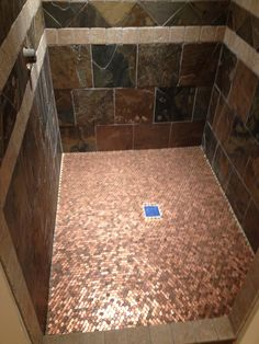 DIY - Pennies used on the floor of a shower. A Building We Shall Go!: Heads Up