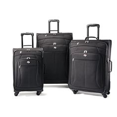 American Tourister At Pop 3 Piece 4 Wheeled Spinner Suitcase Luggage Set  Black #AmericanTourister