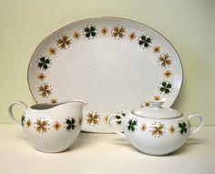 Mid Century Platter Sugar & Creamer RETRO by LizzieWhiteVintage, $20.00