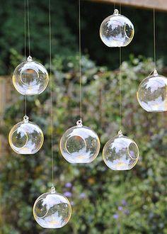 6 ALBERO di Natale Decorazione Chiaro Bauble da appendere vetro tè luce titolare e luci