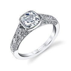 Vintage Halo Cushion Cut #Diamond #Engagement #Ring
