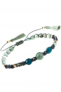 knotted cord bracelet with various green & blue gemstones I NEW ONE maya collection I NEWONE-SHOP.COM