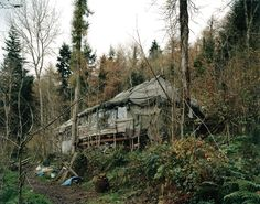 David Spero The Longhouse' communal space and new kitchen, Steward Community Woodland, Devon, November 2004 Home Shelter, A Level Photography, Shadow Photos, Land Use, Slums, Contemporary Photography, Urban Landscape, Woodland, Places To Visit