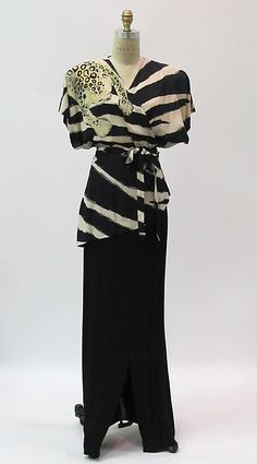 ca 1940's Adrian silk ensemble, of blouse printed with leopard on one shoulder, and long blank skirt. American