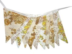 Vintage Retro Cafe / Brown and Mustard - Lace Floral Flag Bunting.  Shabby Chic Decoration.