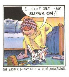 The Easter Bunny Gets A Rude Awakening - Easter Pictures Easter Humor Easter Jokes and Easter Cartoons Funny Cartoon Jokes, Funny Easter Jokes, Easter Cartoons, Funny Comics, Funny Humor, Funny Stuff, Easter Pictures, Funny Pictures, Funniest Pictures
