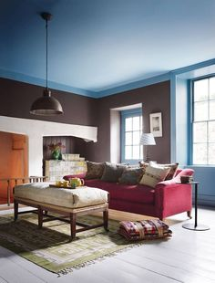Farrow & Ball' 'Stone Blue' was used on the ceiling of this basement room and carried down to create a false cornice above the 'Tanner's Brown' walls. The same blue was used on the woodwork, providing a contrast with the red 'Basset Sofa' Interior Design Shows, Luxury Interior Design, False Ceiling Living Room, My Living Room, Living Spaces, Interior Garden, Home Interior, Farrow Ball, Layout Design