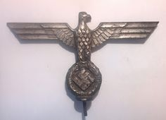 NSDAP PARTEIADLER NAZI PARTY EAGLE INSIGNIA VEHICLE FLAG POLE TOP GERMAN WW2 PRICE $475