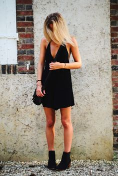 Little black dress and ankle boots