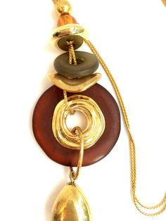 Vintage Amber Bakelite Gold Tone Necklace