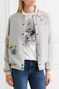 Mira Mikati - Lost Boy Embroidered Crepe Bomber Jacket - Gray - FR